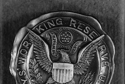 Close up of an eagle badge