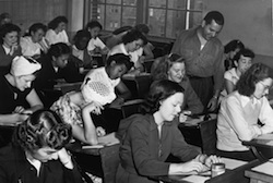 Black and white photograph of students in a classroom